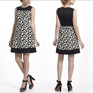 Anthropologie Leifnotes Notched Dots Black Dress